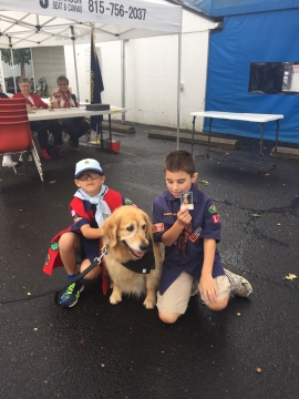 Boy Scouts and Comfort Dog